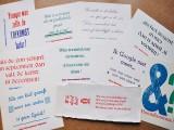 Kaarten met humoristische teksten in vele lettertypen